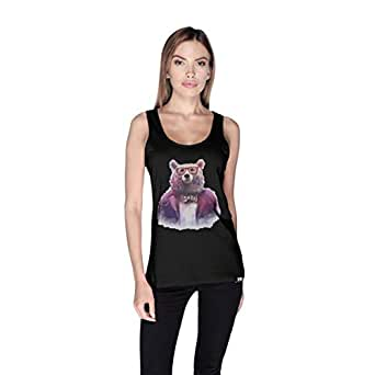 Creo Bear Pug Life Scoop Neck Tank Top For Women - Xl, Black