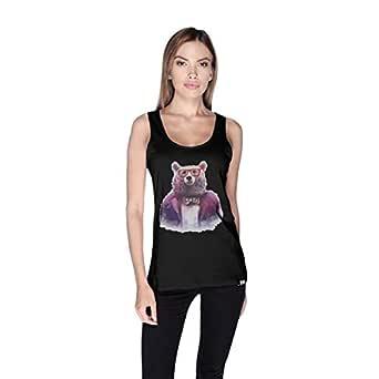 Creo Bear Pug Life Scoop Neck Tank Top For Women - M, Black