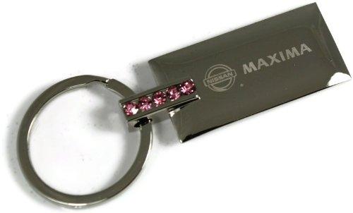 Maxima Crystal (Nissan Maxima Pink Crystal Rhinestone Key Fob Authentic Logo Key Chain Key Ring Keychain Lanyard)