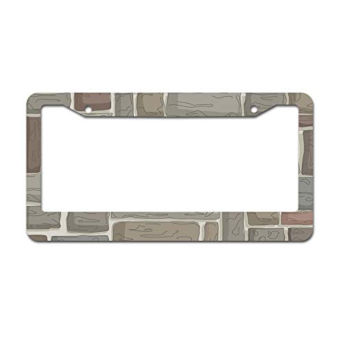 """DKISEE Abstract Stonewall Village Pattern License Plate Frame Aluminum Car License Plate Covers with 2 Holes 12"""" x 6"""""""