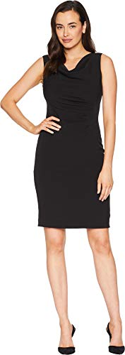 Tahari by ASL Women's Side Ruched Sleeveless Dress with Cowl Neck Black 10