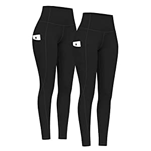 PHISOCKAT 2 Pack High Waist Yoga Pants with Pockets, Tummy Control Leggings, Workout 4 Way Stretch Yoga Leggings