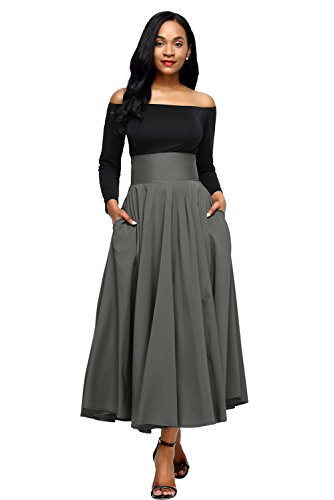 Russian Line (Women High Waist Front Slit Casual A-Line Pleated Midi Maxi Dress Skirt, Grey, Size M (US 8-10))