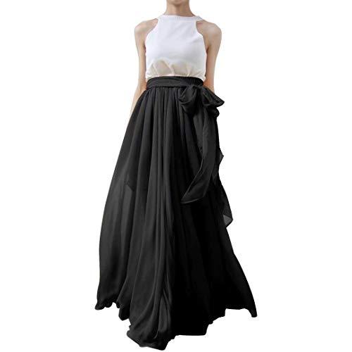 Diydress Women's Summer Beach Chiffon Long High Waist Maxi Skirt with Belt for Wedding 2019 Black (Wedding Chiffon Skirt)