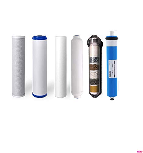 (Replacement Water Filter Set for 6 Stage Alkaline Reverse Osmosis Filtration Systems: 50 GPD RO Membrane + Alkaline Filter)