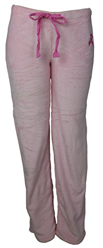 Marilyn Pink Ribbon - Marilyn Monroe Intimates Gina Intimates Women's Super Soft Fluffy Fuzzy Pink Ribbon Pajama Pants (Large)