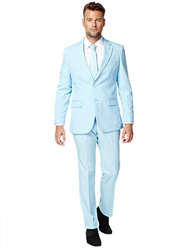 Opposuits Cool Blue Solid Light Blue Suit For Men Coming With Pants, Jacket and Tie, Cool Blue, -