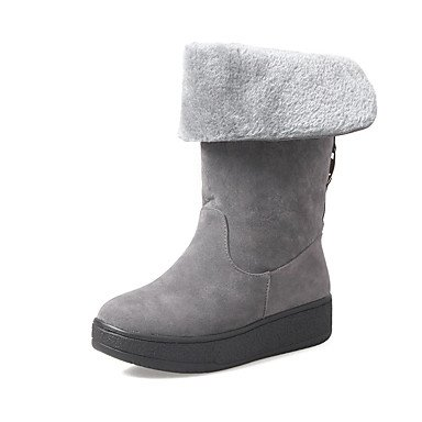 RTRY Zapatos De Mujer Invierno Suede Pelusas Forro Ronda Toe Mid-Calf Plataforma Botas Botas Para Casual Gris Negro Rojo Oscuro US6.5-7 / EU37 / UK4.5-5 / CN37