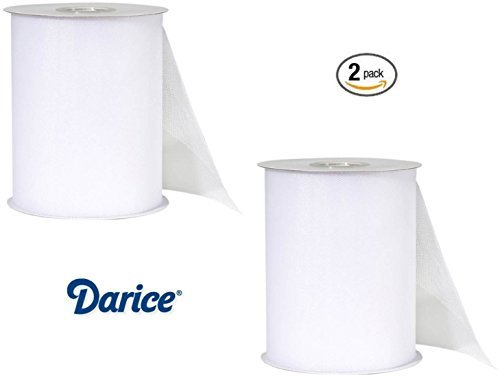 2 Pack Darice 2912-96, Big Value 6-Inch-by-100-Yard, Tulle, White - 100 Yard White Tulle