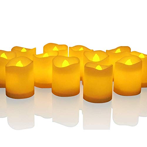 Novelty Place Longest Lasting Battery Operated Flickering Flameless LED Votive Candles (Pack of -