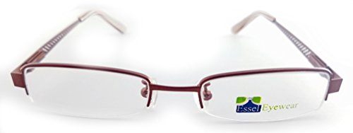 ES155 Metal Rectangular Oval Eye Glasses Semi Rimless Frame (Brown, - Eyeglass Top Rimless Frames