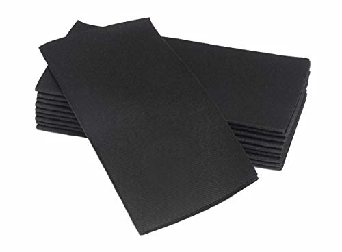 Simulinen Dinner Napkins - Disposable, Black, Cloth-Like - Elegant & Heavy Duty, Soft & Absorbent - Like Paper but Better! 16