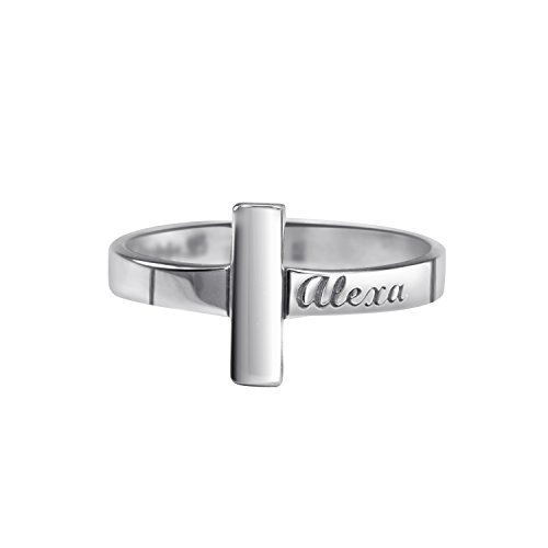 Personalized Sterling Silver Rhodium Plated Lords Cross Ring by personalizedjewelryboutique