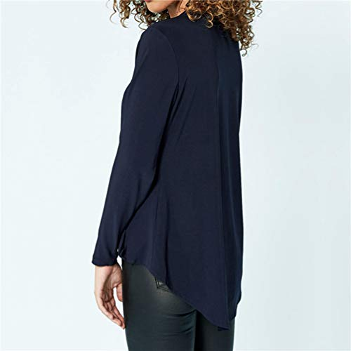 Unie Shirts Casual Fluide Femmes Longue en Col Chemises V Soie Marin Baijiaye Mousseline Sexy Couleur T Blouse Bleu De Manches Lache Longues qgH4fZfw7