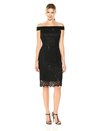 Tiana B Women's Boat Neck Sequin Lace Dress, Black, ()