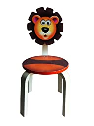 Inskeppa Safari Collection Kid\'s Lion Wood Chair. Cute Design and Functional Chair for Any Room