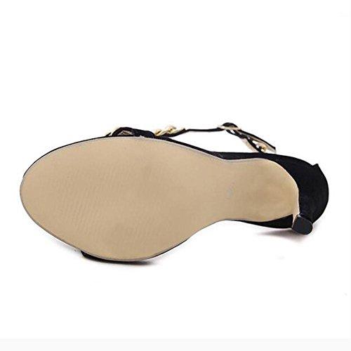 L Boucle Hauts Ouvertes En Talons À Chaussures Black Un Mot De Décoration Femmes Partie yc Robe Métal Chaînes r4IrOSp