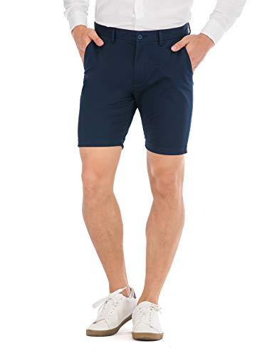 (HONTOUTE Men's Summer Casual Short Mid Waist Chino Skinny Shorts Navy Blue 30)