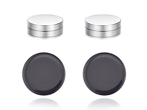 - Black Geometric Goth Punk Clip Ear Studs Strong Magnet Non Pierced Unisex Clip-on Earrings by Dokreil