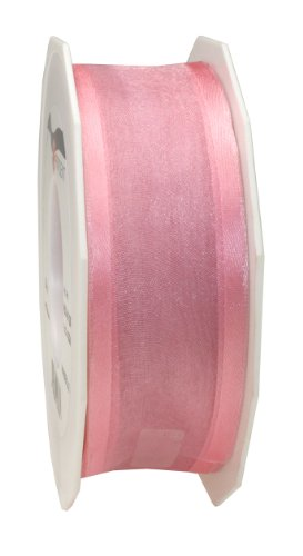Light 24 Marseille - Präsent C.E. Pattberg 40 mm 25 m Wired Organza Ribbon Marseille, Light Pink