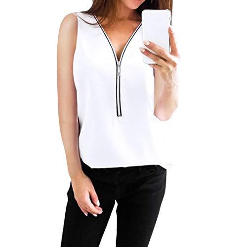 Women Zipper Sleeveless Casual Vest Top Blouse Ladies Summer Loose T Shirts Top V-Neck Duseedik White ()