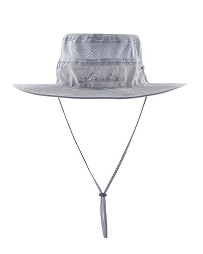 Hat Wide Sun Brimmed (Lenikis UV Protection Sun Hat Adventure Bucket Hat for Camping CyclingFishing Outdoor Activities Light Grey)
