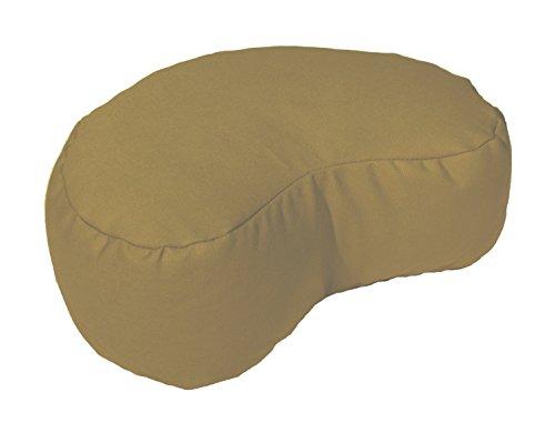 Crescent Camel - Bean Products Camel - Crescent Zafu Meditation Cushion - Yoga - 10oz Cotton - Organic Buckwheat Fill - Made in USA