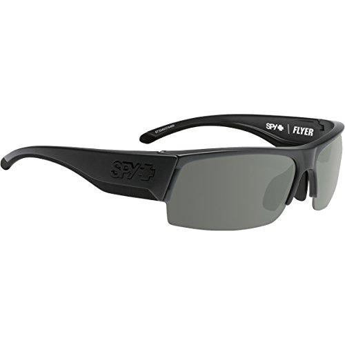 (Spy Optic Flyer Shield Sunglasses, Matte Black Gray/Green/Happy Rose/Clear, 1.5 mm)