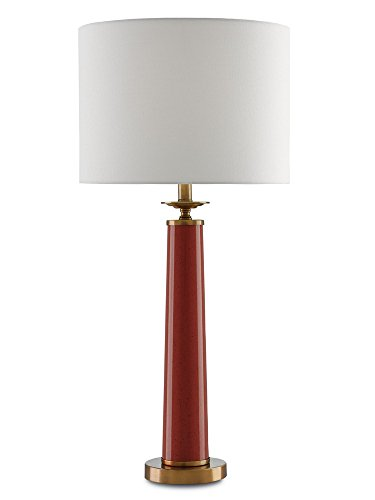 Currey and Company 6000-0033 Rhyme - One Light Table Lamp, Rave Red/Antique Brushed Brass Finish with Off-White Shantung Shade