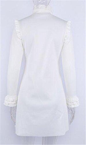 Di Cruiize Colore Di Lunga Fit Tunica Vestito T Sottile Donne shirt Delle Il Manica Solido Increspano Bianca qEr4Ew
