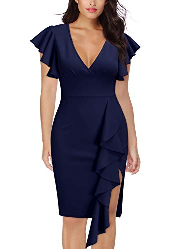 Cocktail Party Dress - Knitee Women's Deep-V Neck Ruffle Sleeves Cocktail Party Pencil Dress,Large,Navy Blue