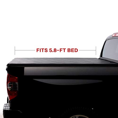 (North Mountain Soft Vinyl Roll-up Tonneau Cover, Fit 07-13 Chevy Silverado/GMC Sierra 1500 New Body Pickup 5.8ft Fleetside Bed, Clamp On No Drill Top Mount Assembly w/Rails+Mounting Hardware)