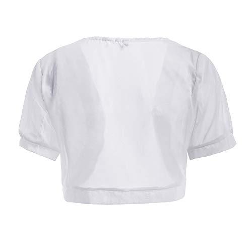 A Lunga Donna Corto Corta Cardigan Bolero Bianco Manica Shaoyao Elegante Giacca xwtHaCqw7