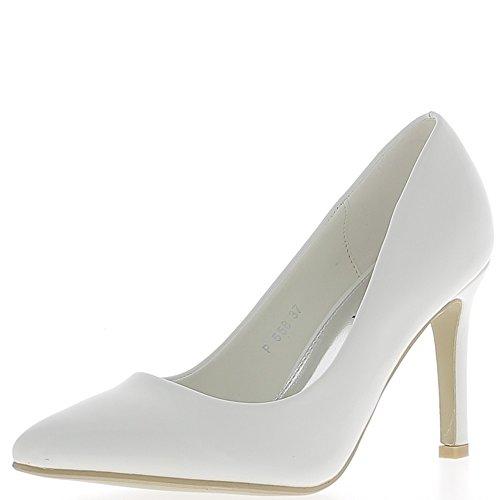 ChaussMoi Consejos Zapatos Blanco Esmalte de Uñas Puntas Fino Tacón DE 9,5 cm