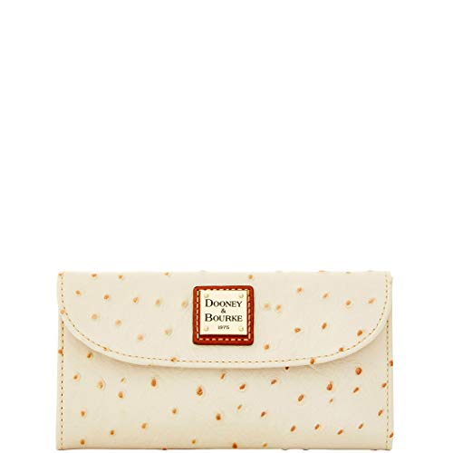 Bourke Ostrich - Dooney & Bourke Ostrich Emb Leather Continental Clutch Pearl Wallet