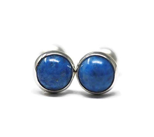 Denim Lapis-lazuli and Polished Sterling Silver 6mm Stud Earrings ()