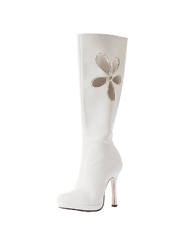 Leg Avenue 426-LOVECHIL-6 White Gogo Boot with Flower Adult - Size 6 -