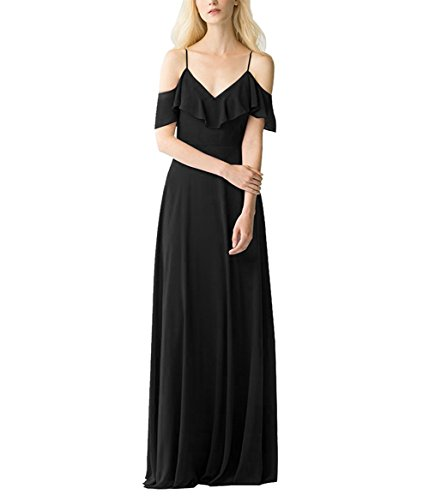 Wedding Bridal Spaghetti Amore Bridesmaid Off Shoulder Dress Black Dress Women's Straps Sawwn7qI6x