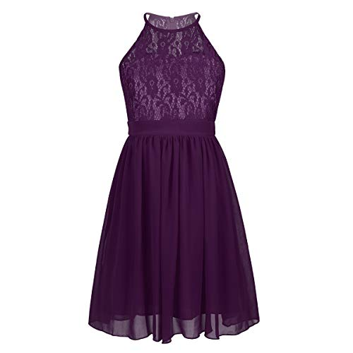 Agoky Kids Big Girls Halter-Neck Floral Lace Junior Bridesmaid Dress Dance Party Birthday Wedding Long Gown Purple Knee Length 10 ()