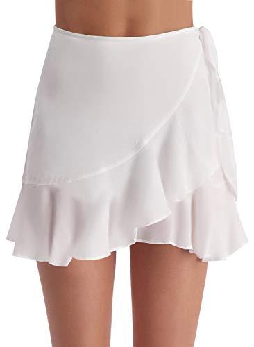 (ChicNChic Womens Swimwear Beach Cover Up Chiffon Wrap Sarong Ruffle Pareo Swimsuit Bikini (White, Medium))