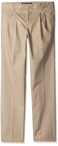 French Toast Boys' Pleated Double Knee Pant with Adjustable Waist, Khaki, 20 Husky by French Toast