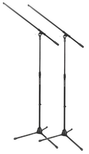 On Stage Stands Tripod Boom Microphone Stand- Two Pack Bundle (Ms7701b Euro Boom Microphone Stand)