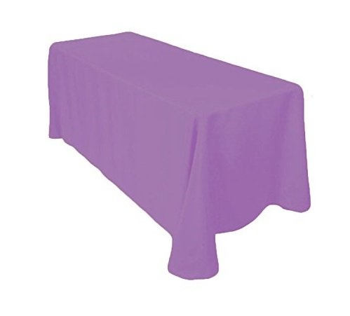 Tablecloth Lavender - Gee Di Moda Rectangle Tablecloth - 90 x 132 Inch - Lavender Rectangular Table Cloth for 6 Foot Table in Washable Polyester - Great for Buffet Table, Parties, Holiday Dinner, Wedding & More