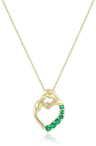 14k Yellow Gold Mother's Jewel Created Emerald Heart Pendant Necklace with Diamond Accent, 18