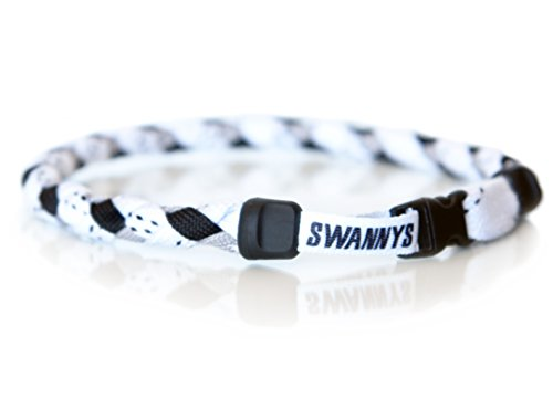 Necklace Phiten Braid - Swannys Hockey Necklace White, Black and Gray - 18