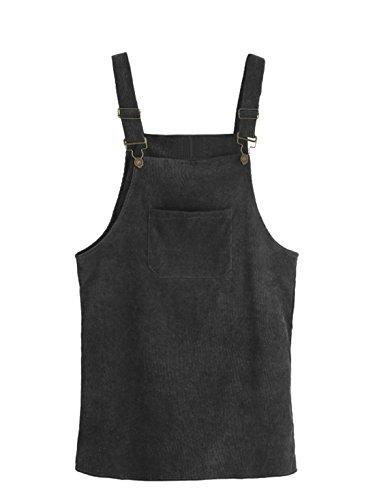 MAKEMECHIC Women's Bid Strap Pocket Dungaree Mini Overall Dress Black XL ()
