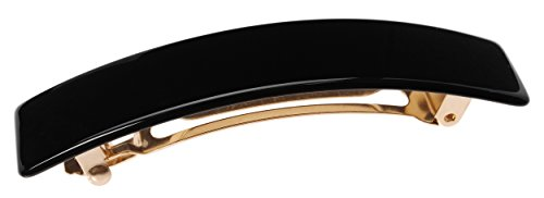 France Luxe Classic Rectangle Barrette - Black by France Luxe