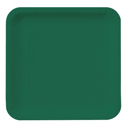 Creative Converting Touch of Color 18 Count Square Paper Dinner Plates, Hunter Green - Green Lunch Plates