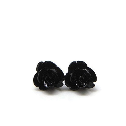 Tiny 9mm Black Rose Earrings on Plastic Posts