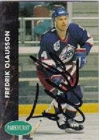 Fredrik Olausson Winnipeg Jets 1991 Parkhurst Autographed Card. This item comes with a certificate of authenticity from Autograph-Sports. Autographed -